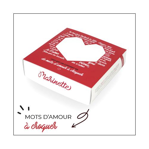Marinette biscuits à messages personnalisés avec des mots d'amour