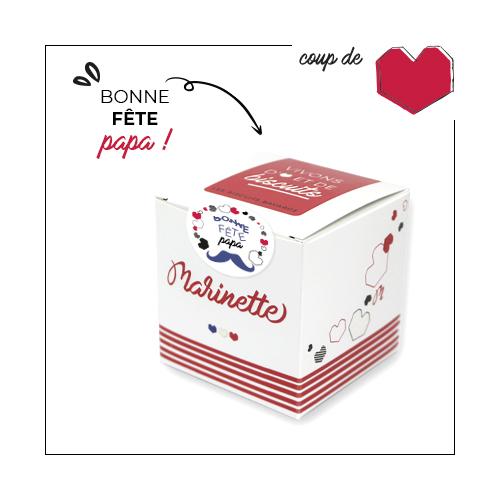Coffret de biscuits à message Marinette Bonne Fête Papa